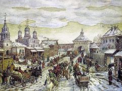 Васнецов А.М. У Мясницких ворот Белого города в XVII в. 1926 г.