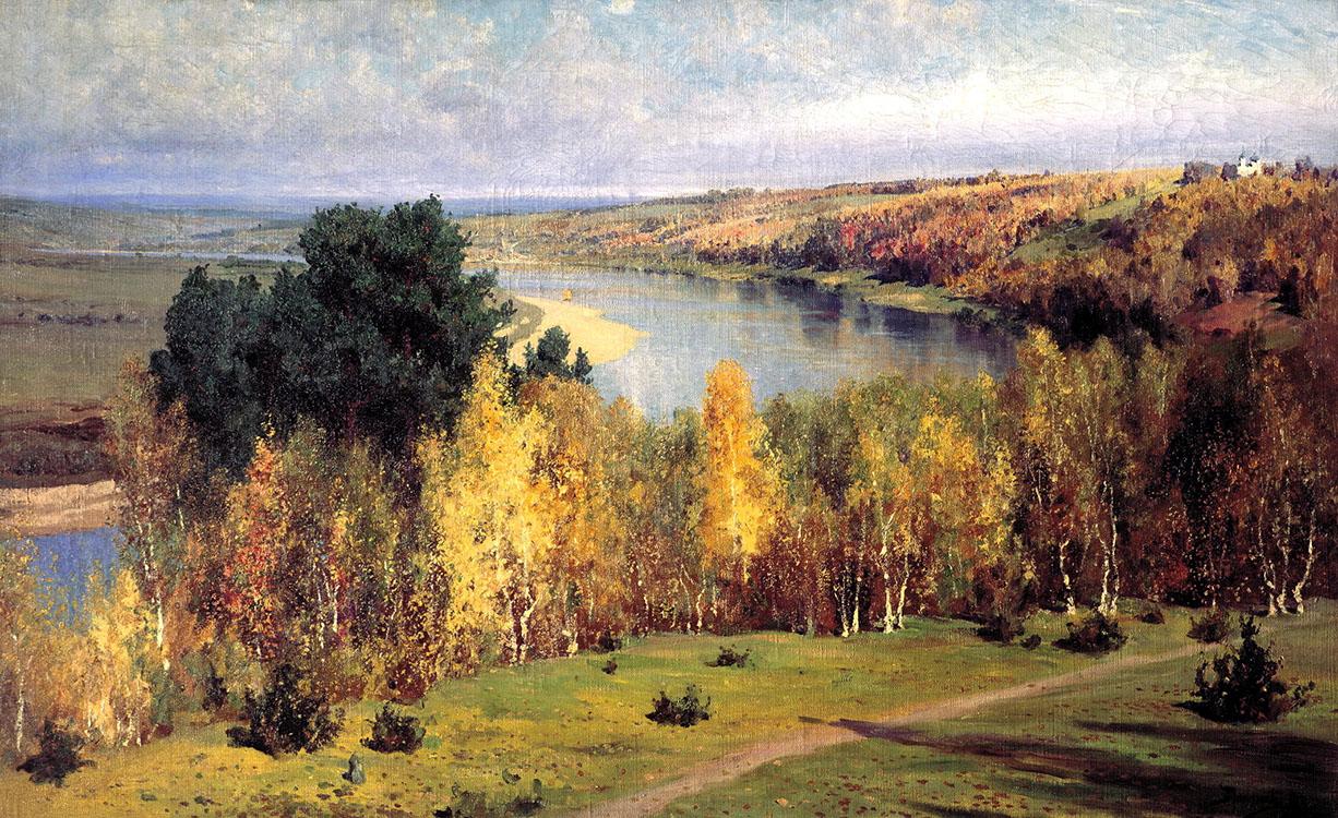 на картинке художник изобразил золотую осень этой